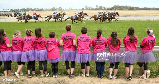 A hens party watches the running of Bet365 Maiden Plate at Gunbower Racecourse on October 07 2017 in Gunbower Australia