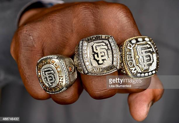 Hensley Meulens of the San Francisco Giants poses for a photograph while wearing his 2010 2012 and 2014 Giants World Series rings on September 1 2015...