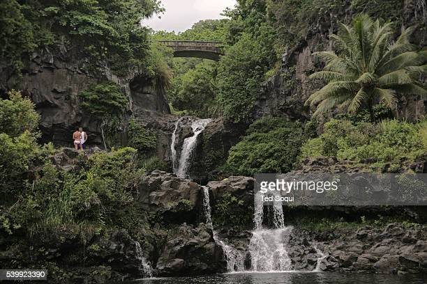 O'heo Gulch Pools also known as the Seven Sacred Pools in Hana Maui The pools are fed by the Pipiwai stream and features several picturesque water...