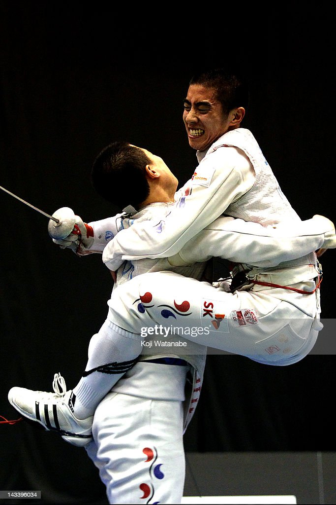 Heo Jun of South Korea celebrates the win after in the Men's Foil Team Tableau final on day four of the 2012 Asian Fencing Championships at Wakayama Big Wave on April 25, 2012 in Wakayama, Japan.