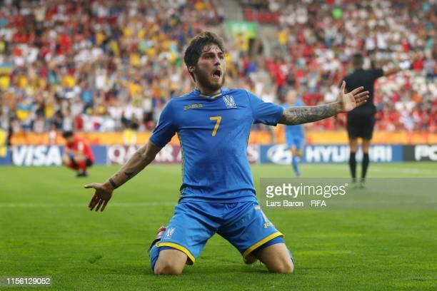 Heorhii Tsitaishvili of Ukraine celebrates after scoring his team's third goal during the 2019 FIFA U20 World Cup Final between Ukraine and Korea...