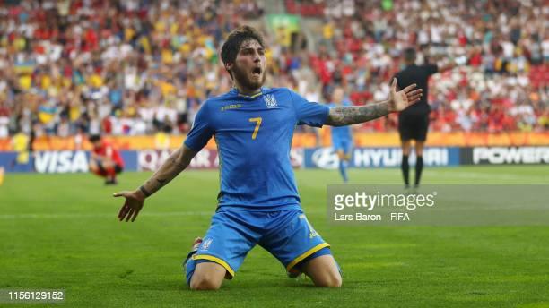 Heorhii Tsitaishvili of Ukraine celebrates after scoring his team's third goal during the 2019 FIFA U-20 World Cup Final between Ukraine and Korea...