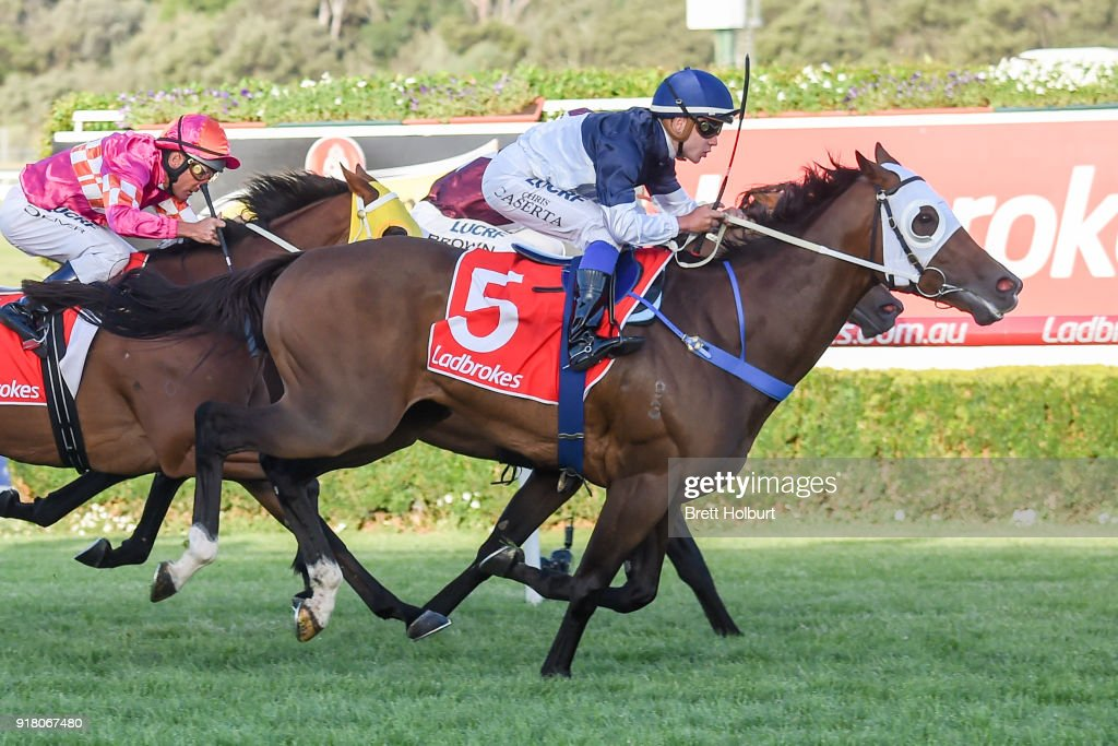 Heptagon (NZ) ridden by Chris Caserta wins the Ladbrokes Handicap at Ladbrokes Park Lakeside Racecourse on February 14, 2018 in Springvale, Australia.
