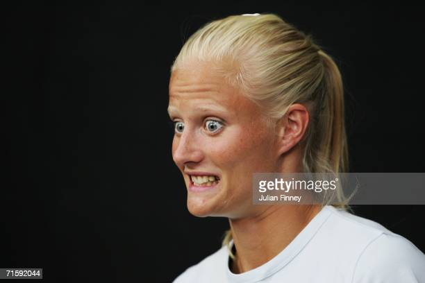 Heptathlete Carolina Kluft of Sweden pulls a face during a press conference prior to the 19th European Athletics Championships on August 5 2006 in...