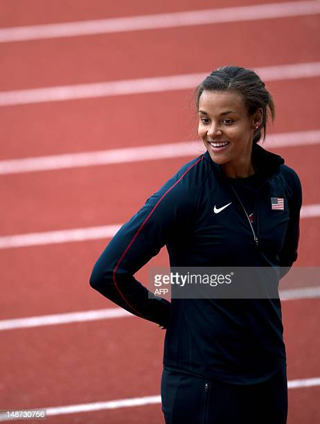Heptathlete Chantae McMillan stands on the track during a demonstration to schoolchildren at Alexander Stadium the Team USA track and field training...