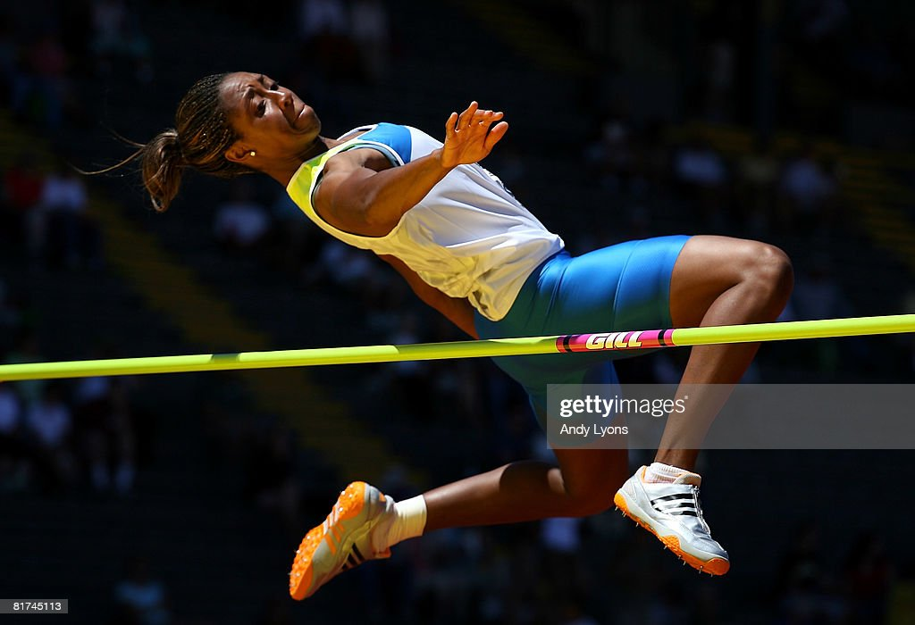 Heptathlete Fiona Asigbee competes in the high jump event during day one of the U.S. Track and Field Olympic Trials at Hayward Field on June 27, 2008 in Eugene, Oregon.