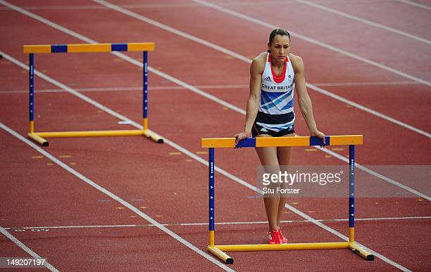 Heptathlete Jessica Ennis focuses on the job in hand during the Team GB Track and Field preperation camp at Monte Gordo Stadium on July 25 2012 in...