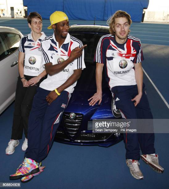 Heptathlete Kelly Sotherton Triple Jumper Phillips Idowu and Long Jumper Chris Tomlinson during the Alfa Romeo MiTo Sprint Special Edition Launch at...