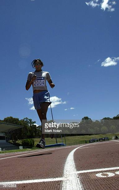 Heptathlete Kylie Wheeler during the press conference for the Canberra leg of the Telstra A Series at the AIS Athletics track on January 29 2004 in...