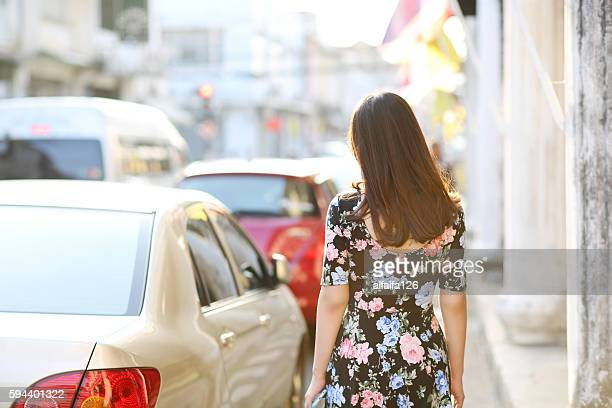 her back - floral pattern dress stock pictures, royalty-free photos & images