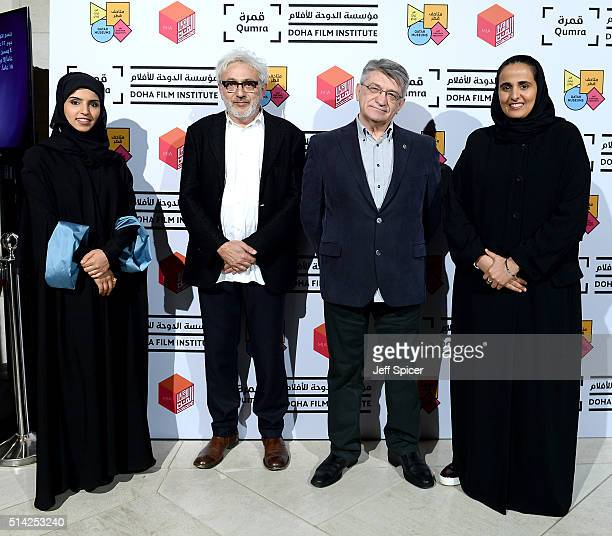 Her Excellency Sheikha Al Mayassa bint Hamad bin Khalifa AlThani with revered Russian filmmaker Aleksandr Sokurov Doha Film Institute CEO Fatma Al...