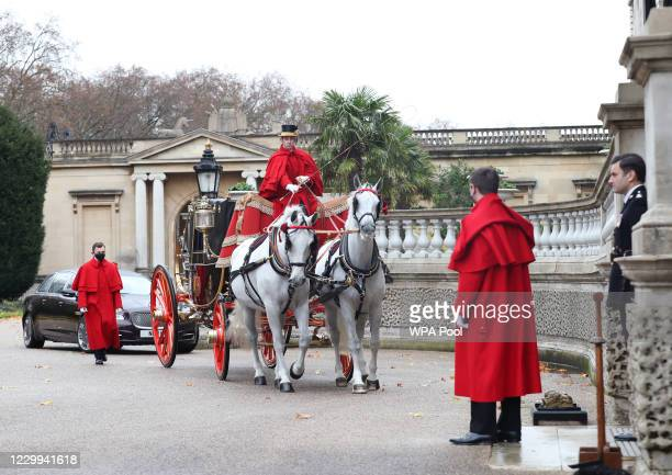 Her Excellency Sophie Katsarava, Ambassador of Georgia, arrives at Buckingham Palace by carriage for a diplomatic audience by video link with Queen...