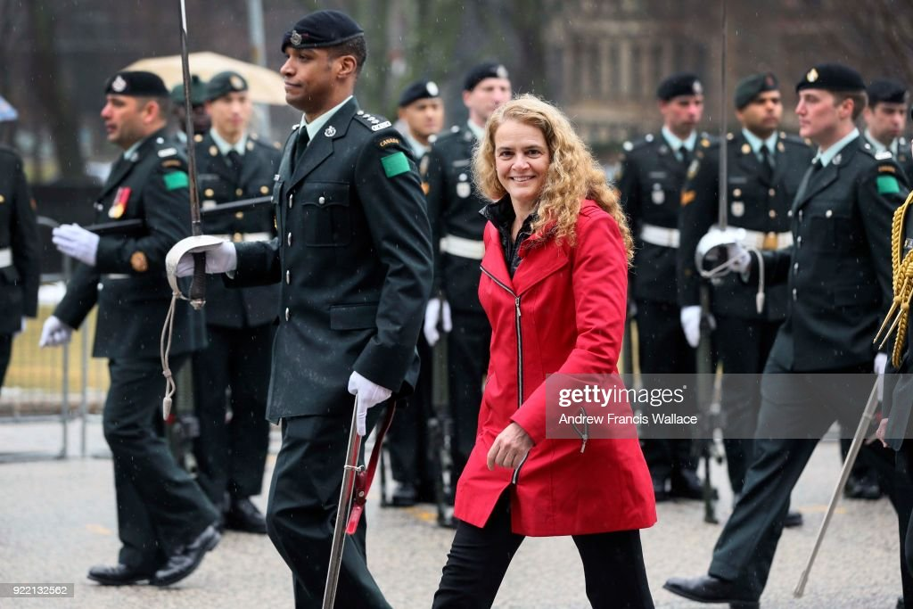 TORONTO, ON - FEBRUARY 20 - Her Excellency the Right Honourable Julie Payette, Governor General of Canada, inspects the guard during a visit to Queen's Park, February 20, 2018.