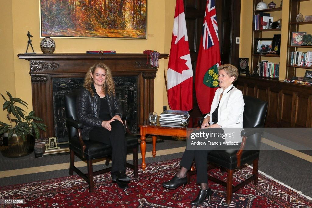 TORONTO, ON - FEBRUARY 20 - Her Excellency the Right Honourable Julie Payette, Governor General of Canada, visits Ontario Premier Kathleen Wynne at her Queens's Park office, February 20, 2018.