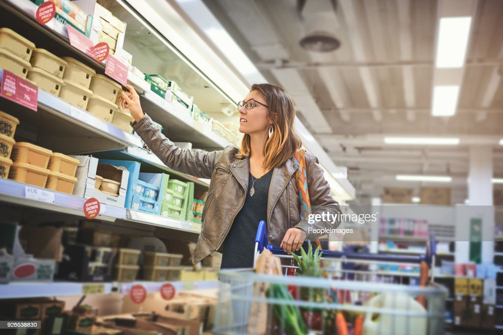 Her favourite brand is in stock : Stock Photo