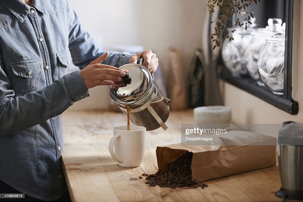 Her first cup in the morning : Stock Photo