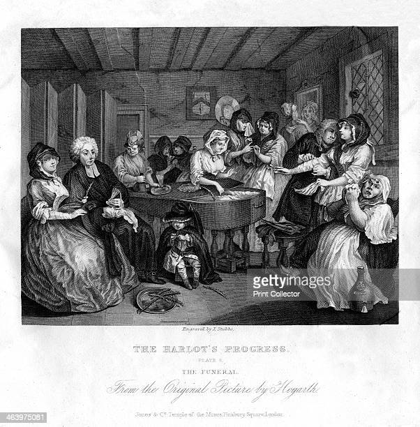 'Her funerall properly attended' plate VI of 'The Harlot's Progress' 1833 Early 19th century version of Hogarth's series of 1732 the body of the...