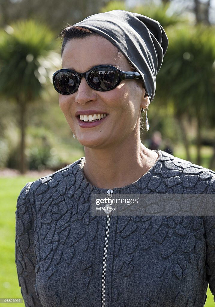 Her Highness Sheikha Mozah bint Nasser Al Missned, Chairperson of Qatar Foundation for Education, Science and Community Development, attends the official opening of the Qur'anic Garden Exhibition at the Royal Botanic Gardens on April 8, 2010 in Surrey, England.
