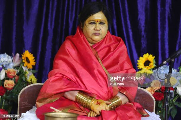 Her Holiness Amma Sri Karunamayi performs special prayers during the Homa at the Bhuvaneswari Amman Temple in Brampton Ontario Canada on June 18 2017...