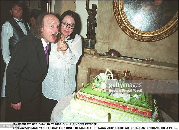 Her husband 'Andre Chapelle' 'Nana Mouskouri' wedding dinner at the restaurant 'L'Orangerie' in Paris woman man cake