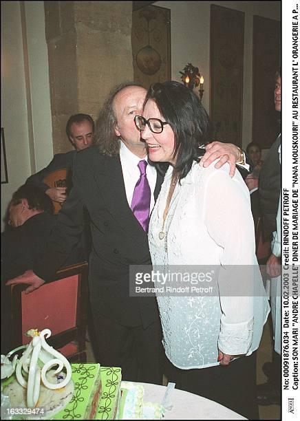 Her husband Andre Chapelle Nana Mouskouri wedding dinner at the restaurant L'Orangerie in Paris woman man kissing