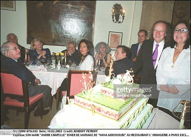 "Her husband ""Andre Chapelle"" ""Nana Mouskouri"" wedding dinner at the restaurant ""L'Orangerie"" in Paris woman man cake."
