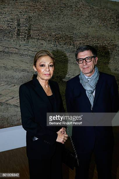 Her Imperial Majesty Empress Farah Pahlavi and President of the Centre Pompidou Serge Lasvignes attend the Anselm Kiefer's Exhibition Press Preview...