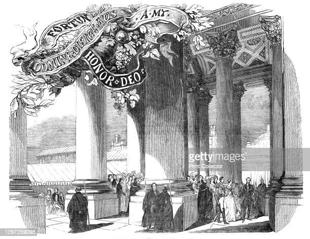 Her Majesty crossing the Great West Portico, 1844. Opening of the new Royal Exchange building in the City of London. The building was designed by Sir...