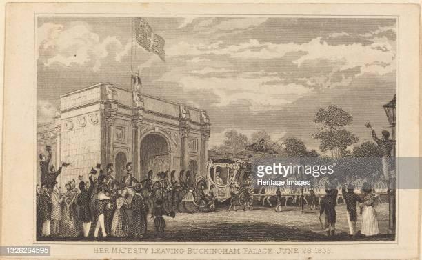 Her Majesty Leaving Buckingham Palace, June 28, 1838 [left half], 19th century. Artist Unknown.