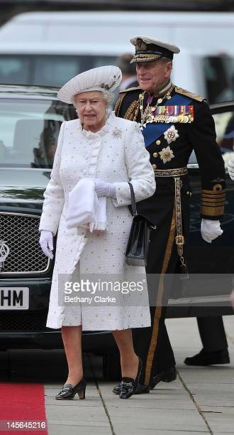 Her Majesty Queen Elizabeth II and His Royal Highness Prince Philip Duke of Edinburgh arrive at Chelsea Pier on June 3 2012 in London England For...