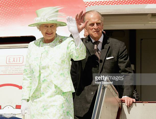 Her Majesty Queen Elizabeth II and His Royal Highness The Duke of Edinburgh wave to the assembled crowd as they arrive at Melbourne Airport on March...