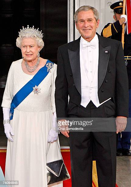 Her Majesty Queen Elizabeth II and US President George W Bush pose for photographs on the North Portico of the White House after arriving for a...
