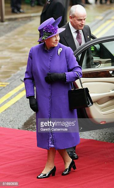 Her Majesty Queen Elizabeth II attends the wedding of Ed Van Cutsem and Lady Tamara Grosvenor at Chester Cathedral on November 6 2004 in Chester...