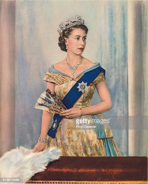Her Majesty Queen Elizabeth II', circa 1953. Her Majesty Queen Elizabeth II, Wearing the Nizam of Hyderabad necklace made by Cartier, the George IV...