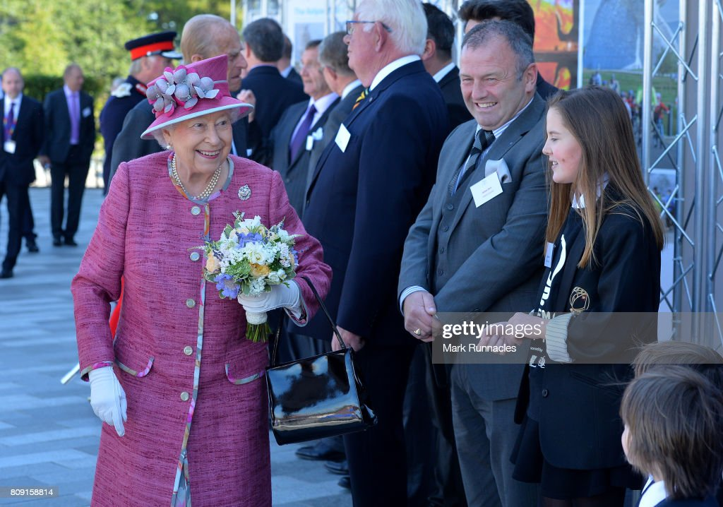 Her Majesty Queen Elizabeth II meets dignitaries at the Kelpies on July 5, 2017 in Falkirk, Scotland. Queen Elizabeth II and Prince Philip, Duke of Edinburgh visited the new section the Queen Elizabeth II Canal, built as part of the £43m Helix project which features the internationally-acclaimed, 30-metre-high Kelpies sculptures.