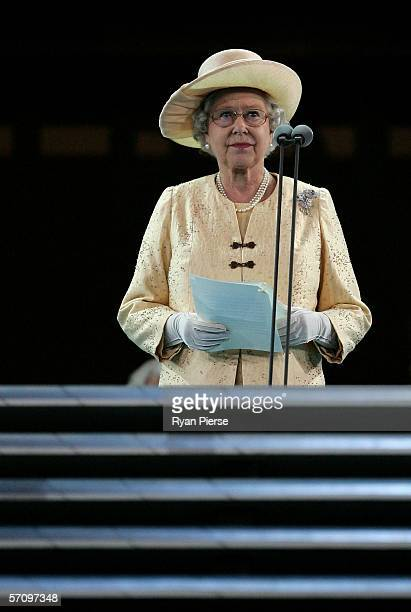 Her Majesty Queen Elizabeth II speaks during the Opening Ceremony for the Melbourne 2006 Commonwealth Games at the Melbourne Cricket Ground March 15...