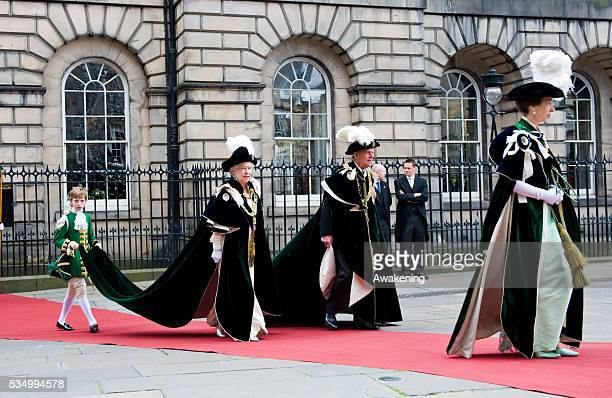 Her Majesty Queen Elizabeth II with the Duke of Edinburgh and HRH Princess Anne attends the traditional Mass for the Order of the Thistle