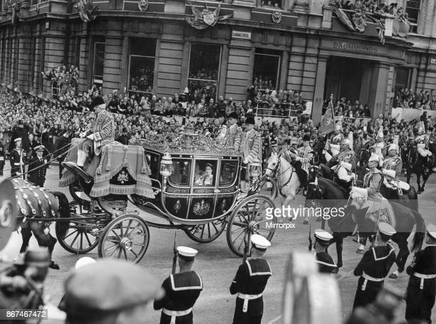 Her Majesty Queen Elizabeth The Queen Mother with The Princess Margaret seen here in the Glass Coach as they make their way to Westminster Abbey for...