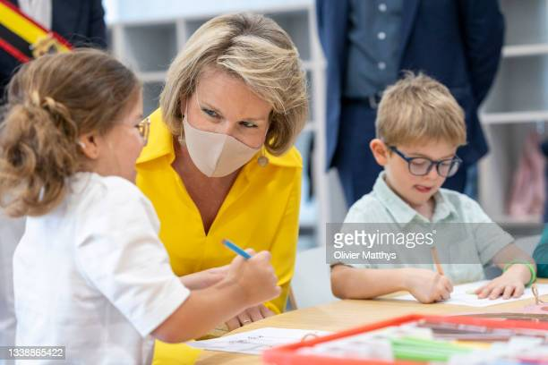 """Her Majesty Queen Mathilde of Belgium visits the KAZ """"Koninklijk Atheneum Zottegem"""" primary school on September 07, 2021 in Zottegem, Belgium.""""The..."""