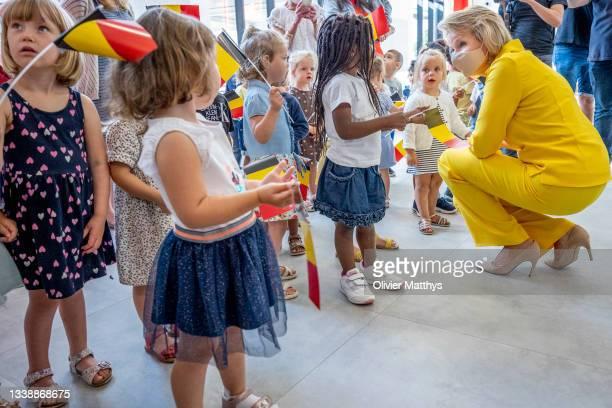 """Her Majesty Queen Mathilde of Belgium visits the KAZ """"Koninklijk Atheneum Zottegem"""" primary school on September 07, 2021 in Zottegem, Belgium. """"The..."""