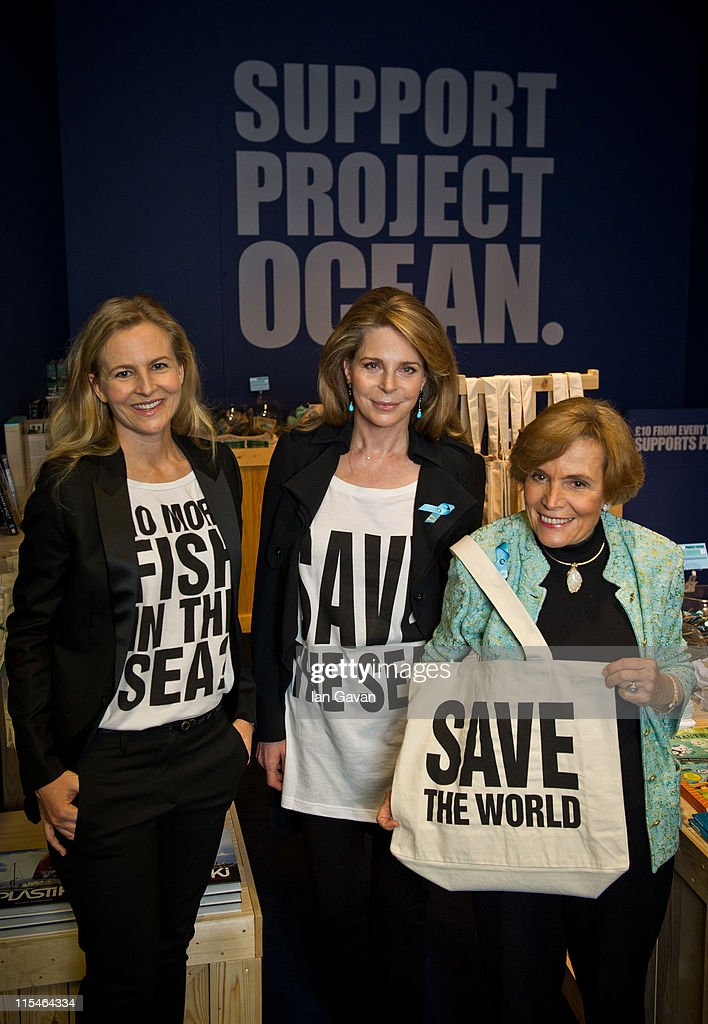 Her Majesty Queen Noor of Jordan, oceanographer Silvia Earle and Selfridges creative director Alannah Weston, visit the Selfridges Ultralounge ahead of the launch of the 19th World Oceans Day at Selfridges Ultralounge on on June 7, 2011 in London, England. World Oceans Day will be held for the first time at Selfridges and will be attended by members of Parliament from across the European Union including Richard Benyon the British Fisheries Minister.