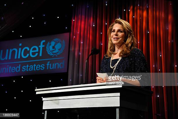 Her Majesty Queen Noor of Jordan Woman of Compassion Honoree speaks on stage the 2011 UNICEF Ball presented by Baccarat held at the Beverly Wilshire...