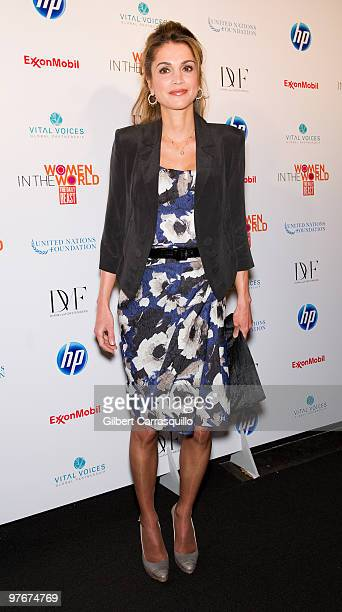 "Her Majesty Queen Rania Al Abdullah of Jordan attends ""Women In The World: Stories and Solutions"" at Hudson Theatre on March 12, 2010 in New York..."