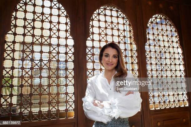 Her Majesty Queen Rania Al Abdullah of Jordan is photographed at the Al Husseiniya Palace in Amman, Jordan.