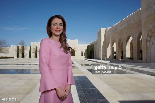 Her Majesty Queen Rania Al Abdullah of Jordan is photographed at the Al Husseiniya Palace in Amman Jordan