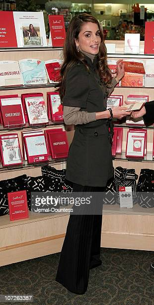Her Majesty Queen Rania Al Abdullah of Jordan makes an appearence at the LeMarc's Hallmark Gold Crown Store on October 26, 2007 in New York City. The...