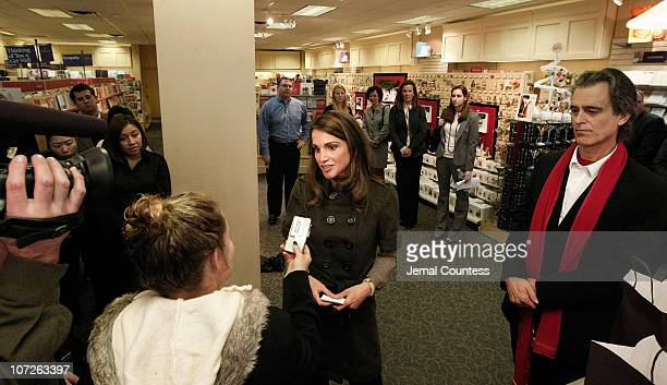 Her Majesty Queen Rania Al Abdullah of Jordan makes an appearence at the LeMarc's Hallmark Gold Crown Store on October 26, 2007 in New York City....
