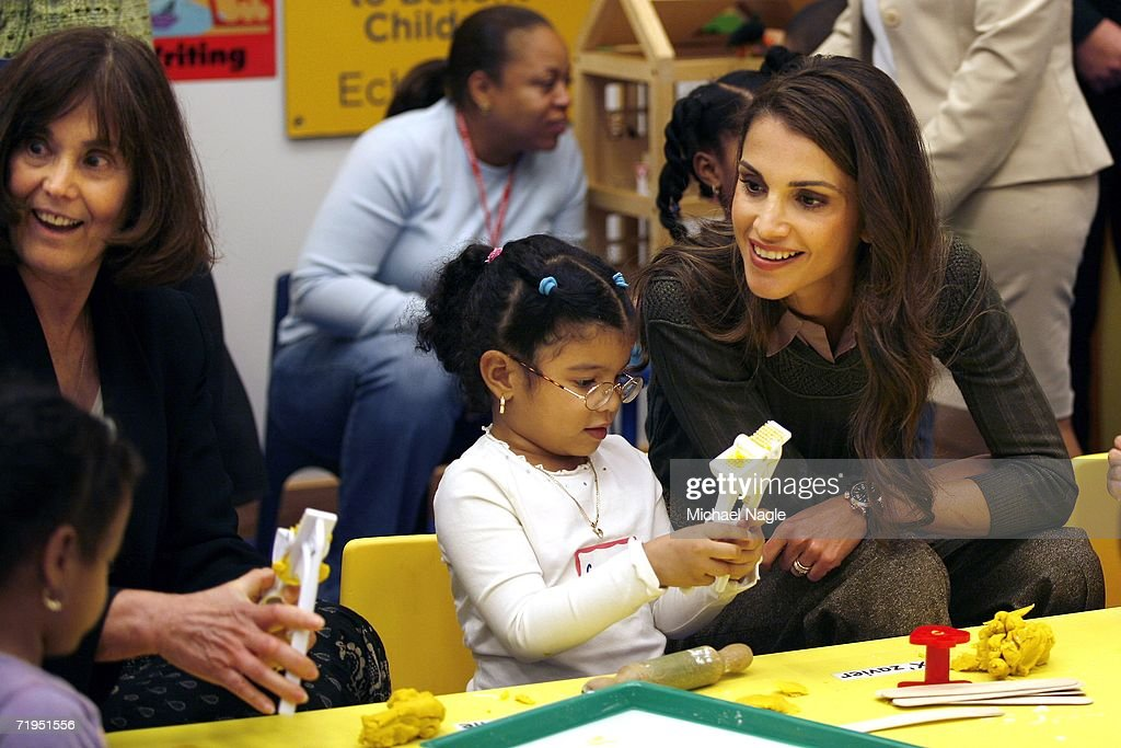 Her Majesty Queen Rania Al-Abdullah (R) of Jordan along with ABC President Gretchen Buchenholz (L) tour the Association to Benefit Children's new Echo Park children and family facility in Harlem September 20, 2006 in New York City. Queen Rania and Children's Defense Fund President Marion Wright Edelman set in motion the Global Women's Action Network for Children last June in Jordan.