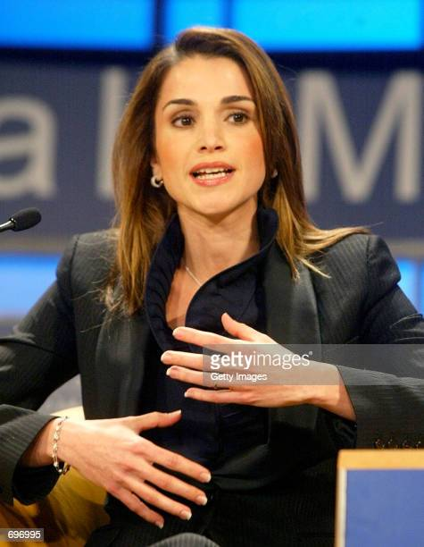 Her Majesty Queen Rania of Jordan speaks during the For Hope session of the 32nd Annual Meeting of the World Economic Forum January 31 2002 at the...