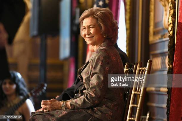 Her Majesty Queen Sofía of Spain attends the Sophia Awards for Excellence Luncheon by The Queen Sofia Spanish Institute at Metropolitan Club on...
